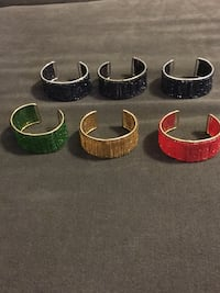 6 Silver Tone and Gold Tone Metal and Seed Bead Bangles Bracelets