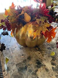 Hand made Fall floral arrangement in faux gold pumpkin Whitehall, 18052