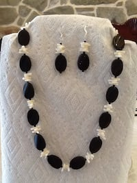 Necklace with Earrings black stone with white corral  Germantown, 20874