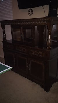 brown wooden cabinet with hutch Pearland, 77584