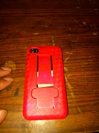 black Android smartphone and red case 34 mi
