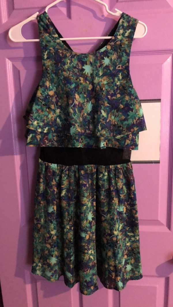 Black, blue, and green floral sleeveless dress