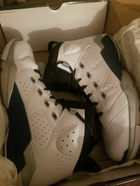pair of white-black-and-gray Air Jordan 6 shoes an