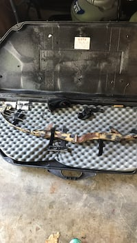 brown black and white camo compound bow Stanhope