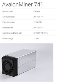 Avalon 741 Miners for sale New and Used Delta, V4C 1B3