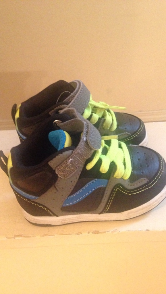 toddler's pair of black blue and gray high top sneakers