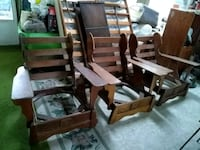 3 Matching Wooden Colonial Paddle Arm Chairs  Union Pier, 49129