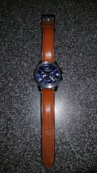 round black chronograph watch with brown leather strap Sandy Hook, 06482