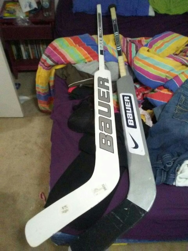 ddfda00de34 Used two black and white Nike Bauer hockey sticks for sale in Edmonton