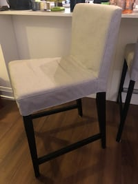Black wooden frame gray padded chair Toronto, M8V