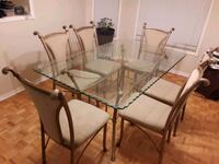 Dining table+6 chairs(metal base)/delievery availa
