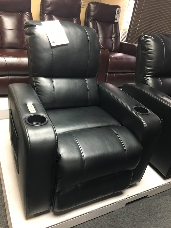 Used Air Leather Power Recliner With Cupholder And Usb Port For