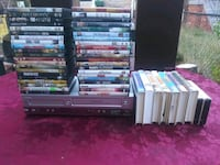 Phillips DVD/VCR Combo with Remote Control and 42 DVDs, and 12 VHS Tap