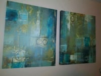 blue and brown abstract painting Bellflower, 90706