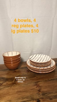 White black and orange plates and bowls set  null