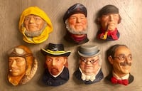 Rare VINTAGE Collection Legend Products England Chalkware  1980's wall hanging heads Las Vegas, 89135