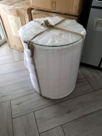White Wicker round end tables w/glass top