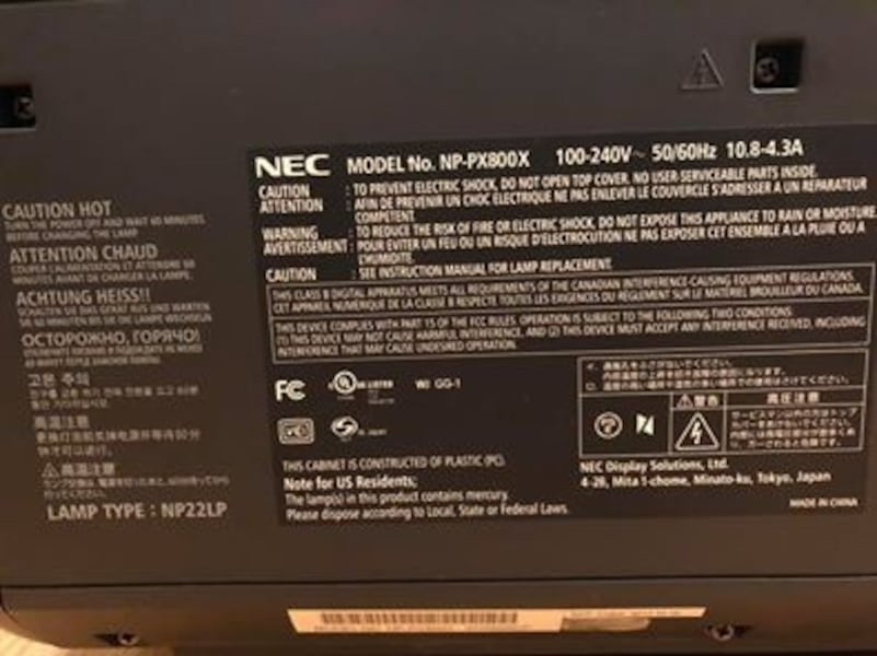 NEC projector PX800X - 8000 Lumens 6