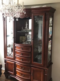 Two piece antique china cabinet