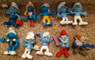 Lot of 10 Smurf Figures 2013 McDonalds Happy Meal