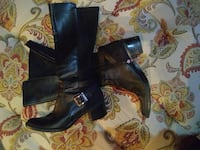 pair of women's black leather side-zip buckled chunky-heeled wide-calf boots