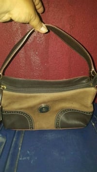 brown and black leather crossbody bag