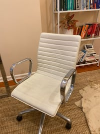 Crate and Barrel Ripple Ivory Leather Office Chair with Chrome Bas Washington, 20001