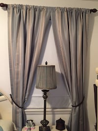 Gray and brown striped window curtains Falls Church, 22042