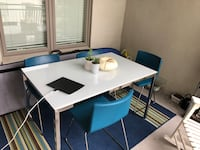 IKEA white glass dining table with chairs - was $850 New