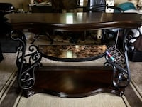 Coaster Sofa Table with Ornate Metal Scrollwork and Two Shelves in Mahogany Finish Monroe, 45050