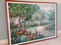 Original signed large painting in solid wood frame
