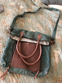 Green canvas / faux leather  - crossbody and or tote -  New Roads, 70760