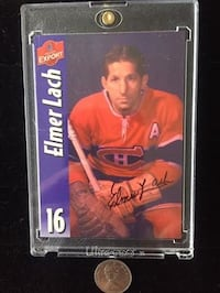 Autographed Elmer Lach Card with Hard-case Shell Toronto, M4V 2C1