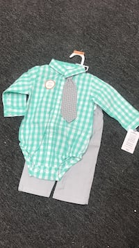 Carters 9m teal and white checked onesie and gray pants Fountain Valley, 92708