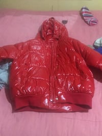 red leather zip-up hoodie null, 11221