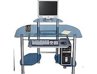 Glass Desk with Metal Frame and Free Chair