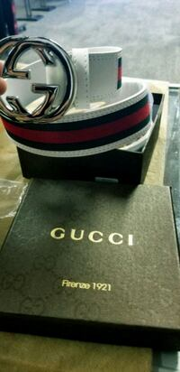black and red Gucci leather belt with box