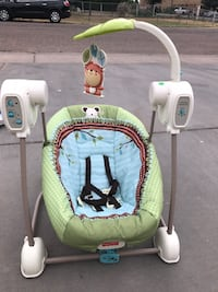 baby's green and white swing chair Greeley, 80634
