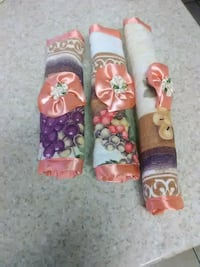 two pink and purple floral textiles