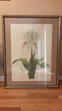"White orchid flower painting with brown wooden frame 30""x39"""