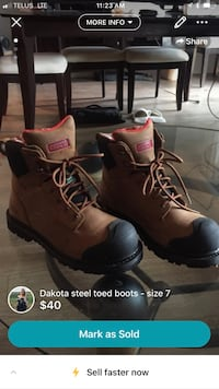 pair of brown leather work boots screenshot Mississauga, L5J