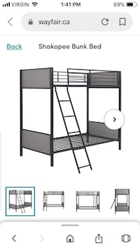 Metal bunk bed with 2 mattresses Toronto, M2R 3G7