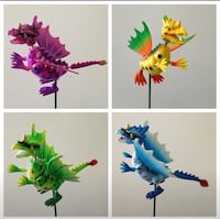 Silly dragon garden stakes. 4 colors. Nice garden decor or for crafts. All for $8 Orange Park, 32065