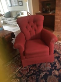 red fabric sofa chair with ottoman Milton, L9T 5T9