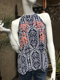 High neck Blue and white geometric Pattern Blouse with Embroidered Chest- Large Hacienda Heights, 91745