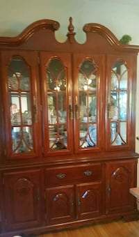 brown wooden framed glass china cabinet Westmount, H3Z 3E4