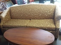 Yellow and cream queen size sofa bed