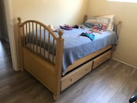 Trundle Bed Frame, Solid Wood Natural Color Cudahy, 90201