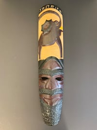 Hand Carved Art Jamaica Wood Wall Hanging Mask And Elephant Montréal, H4R