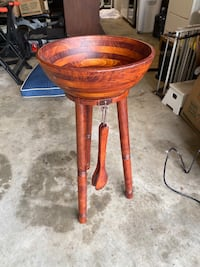 Extra large wooden salad/serving bowl with stand and tongs